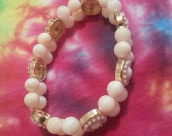 White & Gold Double Layer Bracelet.