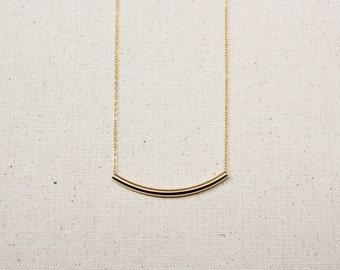 Simple & Dainty Gold Tube / Curved Bar Necklace