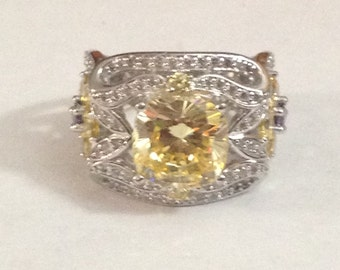 Stunning sterling silver Cz ring size 8