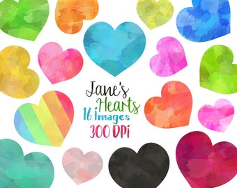 Watercolor Hearts Clipart - Heart Download - Instant Download - Faux Watercolor Hearts - Valentines Day