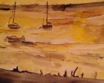 Boats in the Blackwater Estuary at sunset