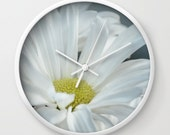 "White & Yellow Daisy 10"" Wall Clock,Floral Wall Clock,Flower Photography,Nature Photography,Wall Art,Flower Wall Clock,Daisy Flowers,Clock"