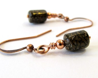 Dinosaur Bone Earrings, Fossil Earrings With Jurassic Dino Bone and Copper, Unique Handmade Jewelry, Rare Materials, Earth Tones