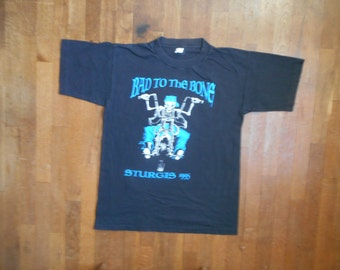 vintage 90s 1995 sturgis black hills rally bad to the bone skeleton biker ride festival fan souvenir tee shirt