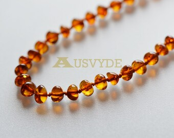 Baltic amber necklace Cognac Color Baroque style Amber Beads / polished. Knotted Amber necklace for Adults. 45 cm or 17,7 inch. 5764