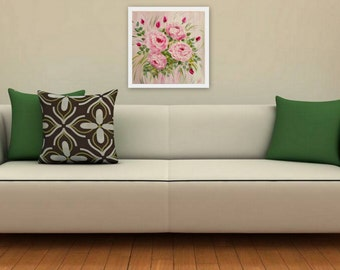 PINK roses - Original - Oil on canvas - NEW ENERGY Art by Ingrida
