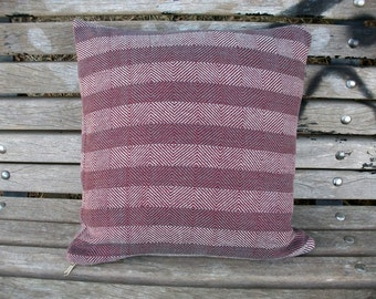 Cushion cover hand-woven, Cushion cover, wine marsala grey, 40 x 40 cm, simple minimalist House, 80% cotton - 20 lines