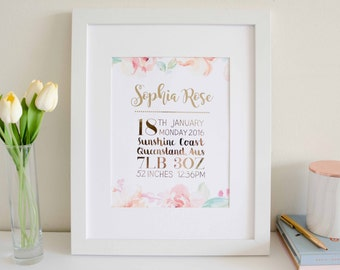 Baby Girl Floral Custom Name Print and Birth Announcement - Rose Gold Foil and Watercolor