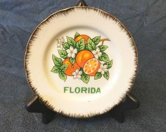 Vintage Souvenir Florida Collectors Plate with Oranges