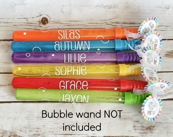 Personalized Bubble Wand Party Favor DECAL and TAGS | Bubble decal | Kids Birthday party favors | gift for kids | Party supplies | Summer