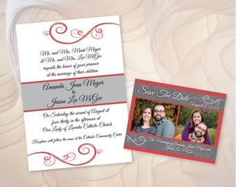 Custom Elegant Swirl Wedding Invitation and Save the Date