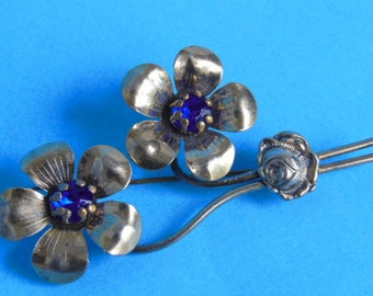 Vintage Silver and Sapphire Rhinestone Flower Brooch