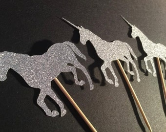 Unicorn party decor cupcake toppers magical fairy party decoration princess party birthday party baby shower silver glitter unicorns