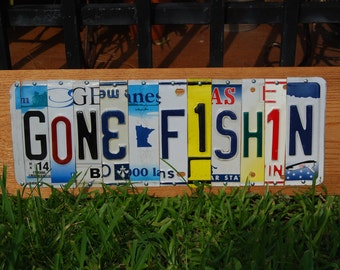 GONE FISHIN license plate sign