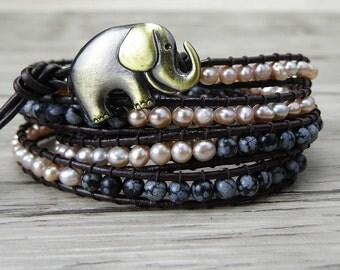 Fresh Water Pearl wrap bracelet Yoga beaded bracelet Snowflake boho beads bracelet leather wrap bracelet elephant charm bracelet SL-0163