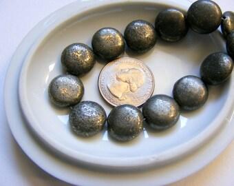 Golden Pyrite Puff Coin Beads, 15 mm 6 Beads