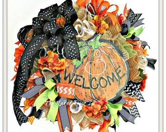 Fall Welcome Wreath - Welcome Wreath - Welcome Pumpkin Wreath - Autumn - Fall Mesh Wreath - Thanksgiving Wreath - Fall Wreath - Fall Decor