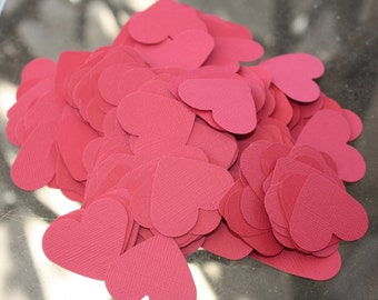 """Set of 250 1"""" Red Pink or Blue Cardstock Card Stock Paper Hearts! Baby Shower Party Decor or Wedding Decorations Table Scatter Confetti"""