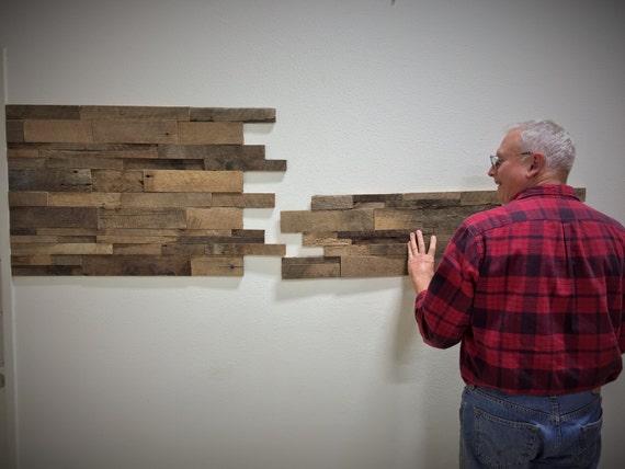 Reclaimed Barn Wood Stacked Wall Panels Diy