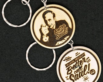 Better Call Saul Breaking Bad Hand Made Engraved Wood Keyring Keychain by JayEngrave