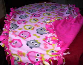 Blanket-Owl Print with Hot Pink