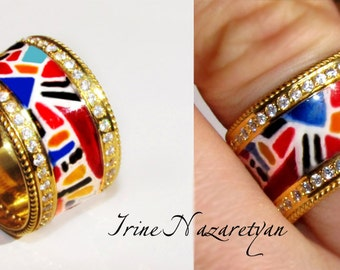 Sterling Silver Gold Plated Ring With Enamel and CZ