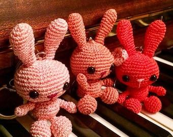 Amigurumi crohet bunny rabbit keyring