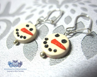 "Sterling Silver Earrings - ""Snowman"""