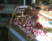 Vintage Brass Claw Foot Tub  & Shower Faucet Telephone Style Used As Prop In Display Window