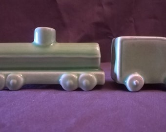 Vintage Green Truck with Tanker Trailer Salt and Pepper Shakers, 1950's
