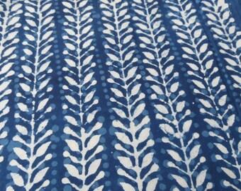 Indigo and White Leaf Print Fabric