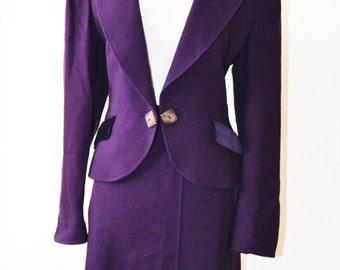 Vintage Purple Skirt Suit Purple blazer Purple Wool skirt suit Purple Velvet by Jaegar Size 14