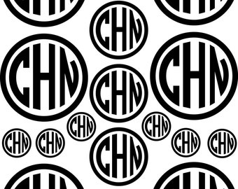 Circle monogram set of 17, sheet of custom monograms, vinyl decals, initial vinyl stickers, laptop stickers, vinyl initials, computer labels