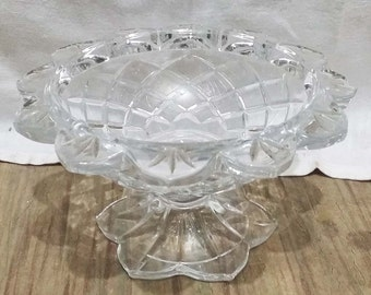 Crystal Cut Glass Candy Covered Compote Dish Pedestal