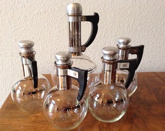 Vintage Pyrex Wine Carafe Set Glass Wine Decanter, Silver and Glass Wine Carafes, Set of 5