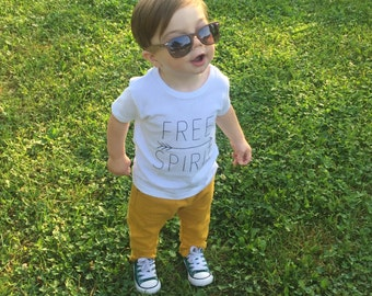 Screen Printed Toddler Shirt - Free Spirit, Toddler Shirt, Shortsleeve Free Spirit Shirt, Screen Printed White Shirt, Free Spirit