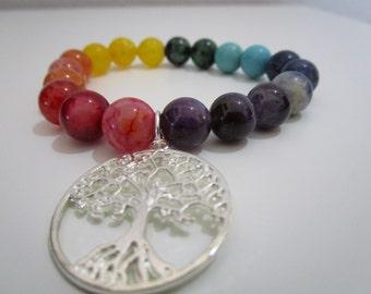 Seven chakras bracelet, bracelet, semi-precious stones, Yoga, Yoga bracelet, pendant tree of life, gift, gift for woman