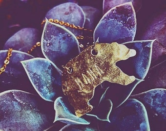 Handstamped Brass Mama Bear Necklace