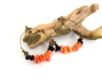 Coral range Creoles - earrings - Gemstone earrings - Gold plated hoops