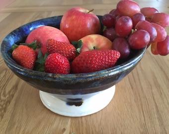 Deep Ceramic Serving Bowl / Blue/Gold Pottery Bowl / Handmade Serving Bowl/ Handmade Pottery/ Colourful Bowl/ Ornamental Bowl/ Tableware