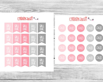 Pink and Gray Bill Due and PAID Sticker Combo
