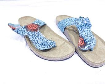 Africa Inspired Wax Print  Men Thongs Flip Flops, Sandals