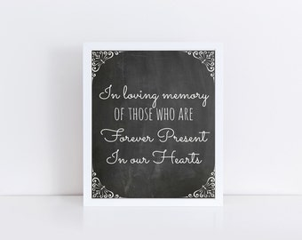 Chalkboard Wedding In Loving Memory Wedding Memorial Sign Printable