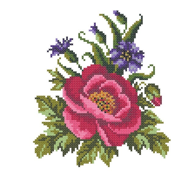 Cross stitch embroidery poppy machine
