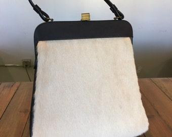 Vintage Hand Bag / Mid Century Modern Camel and Navy Mohair Hand Bag / Purse
