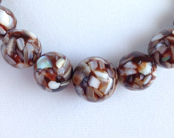 Vintage Graduated Bead Necklace with Embedded Mother of Pearl