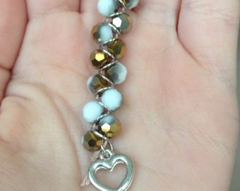 White and Gold Sparkly Keychain