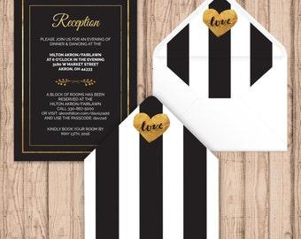 Envelope Liners - Digital - Print At Home - Black White & Gold Envelope Liners - Printable Envelope Liners
