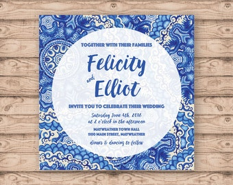 Blue Watercolour Paisley Wedding Invitation - Print at Home File or Printed Cards - Blue Pattern Watercolor Wedding Invite - Personalised