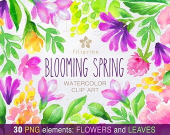 Floral BLOOMING SPRING watercolor Clip Art. Vivid flowers arrangement, green leaves, nature, wedding, nursery. 30 elements. Read about usage